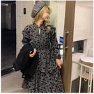 L-5XL大碼洋裝~長袖連身裙~大碼荷葉邊連身裙女收腰不規則裙子內搭碎花裙2163.3F020A愛尚布衣