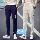 【Y020】shiny藍格子-時尚有型.秋冬季男潮大碼寬鬆休閒長褲