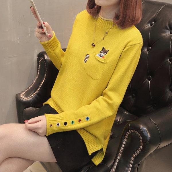 【名模衣櫃】松鼠口袋彩色鐵環袖口毛衣-共5色-(F可選)  92436