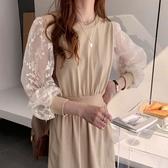 韓系長袖蕾絲花收腰連身裙洋裝 花漾小姐【預購】