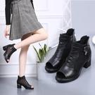 魚口鞋 2021春夏新款真皮中年粗跟魚嘴鞋女網紗透氣鏤空涼靴高跟涼鞋網靴