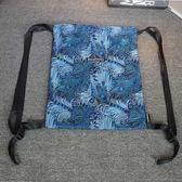 背包 孔雀羽毛折疊束口包抽繩袋雙肩背包書包環保袋休閒港式潮街頭男女 芭蕾朵朵