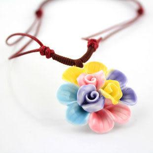 手捏瓷花 多彩花花 項鏈 女 糖果色 可愛甜美 陶瓷首飾