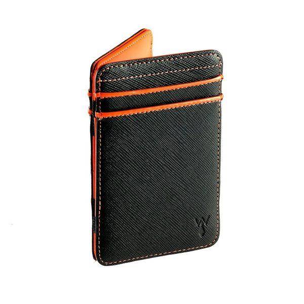 RFID防盜真皮魔術錢夾-橘色