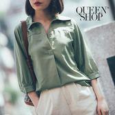 Queen Shop【01095975】半開襟剪接造型上衣 四色售*預購*