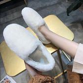 2019冬季新款網紅韓版毛毛鞋女冬外穿羊羔毛一腳蹬平底百搭豆豆鞋