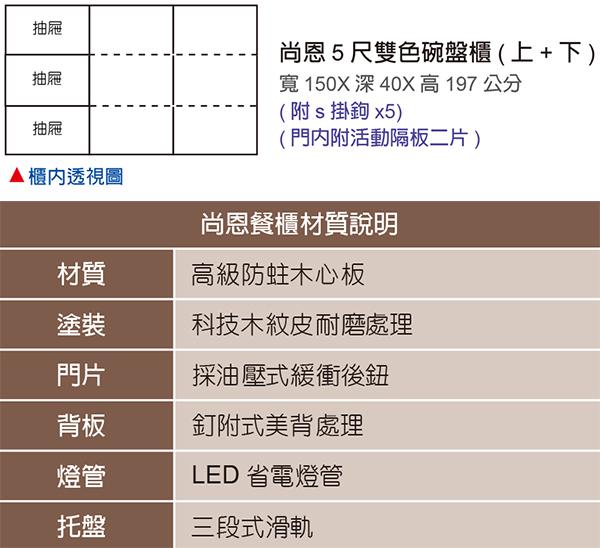 【森可家居】尚恩5尺雙色碗盤櫃(上+下) 7JF411-1 高廚房收納餐櫃 工業風