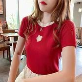 T恤-冰絲T恤女短袖針織衫夏季新款修身百搭學生繡花打底小衫上衣T恤潮