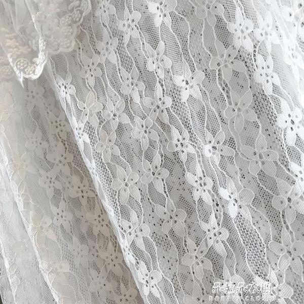 蕾絲打底衫雙層大翻領清純鉤花拼接娃娃領甜美溫柔風蕾絲打底衫上衣秋冬內搭 朵拉朵YC