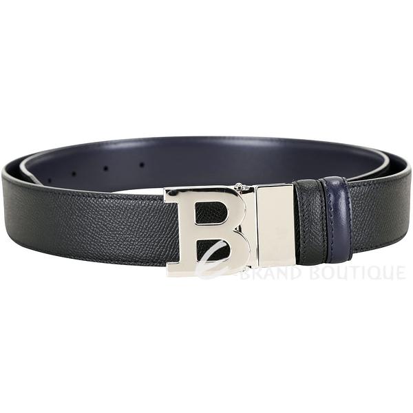 BALLY BUCKLE 可翻轉字母金屬釦雙面用皮帶(黑x深藍) 1940345-01