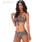 比基尼新款比基尼性感豹紋高腰泳裝泳衣速賣通熱賣分體鋼托bikini 快速出貨