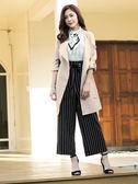 春裝販促[H2O]腰部抽繩設計開襟中長版九分袖外套 - 藍/粉卡色 #9693002