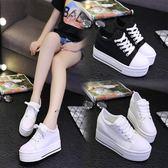 【降價兩天】春秋內增高女鞋10cm坡跟休閒運動鞋34碼小白鞋厚底鬆糕鞋繫帶板鞋