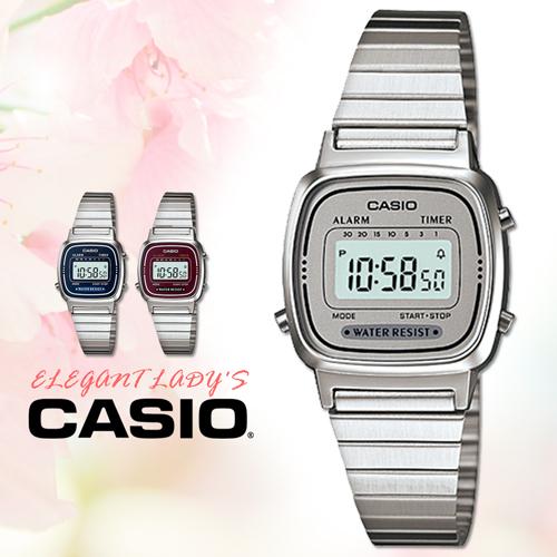 CASIO 手錶專賣店 卡西歐 LA670WA-7 DF 電子錶 數字錶 壓克力玻璃 方形 倒數計時器 不鏽鋼錶帶