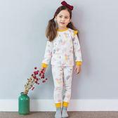 長袖套裝 韓國 Bebezoo 長袖上衣+長褲 家居服套裝2件組 - 芥黃滾邊/粉色花朵印花 OL17-W-ST1005