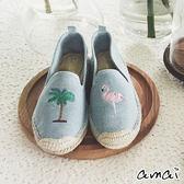 amai時尚紅鶴刺繡帆布休閒草編鞋 淺藍