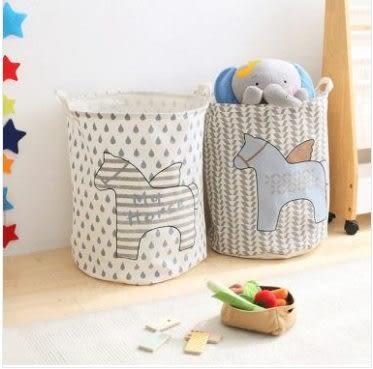 預購-兒童玩具收納籃卡通布藝浴室髒衣桶(兩入)