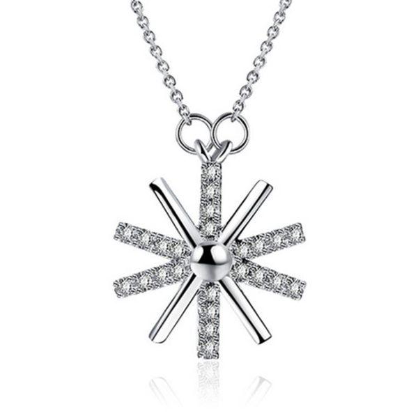 女太陽花鑲鑽十字項鍊鍍銀陽光鍍吊墜 配鍊《小師妹》ps14