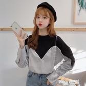 韓版假兩件上衣女ins潮秋裝2020年新款寬鬆秋季長袖T恤女裝設計感 萬聖節