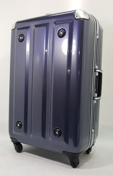 MOM JAPAN日本品牌 輕量化護角鋁框鏡面 旅行箱 -26吋-方格藍