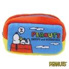 【日本進口正版】史努比 Snoopy 屋頂睡覺款 棉質 長型 收納包 零錢包 PEANUTS - 293268
