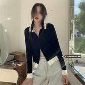 韓國撞色翻領短款長袖針織衫女春秋2020新款韓版氣質雙頭拉鏈修身上衣【居享優品】