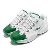 Reebok 籃球鞋 Question Low Green Toe 白 綠 艾佛森 男鞋 低筒【ACS】 GZ0367