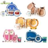 出口美國兒童餐具套裝寶寶餐盤分格竹纖維卡通家用嬰兒輔食碗勺叉
