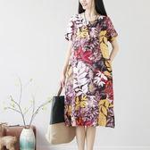 民族風民族風女裝夏季文藝復古樹葉印花棉麻寬鬆短袖洋裝連衣裙女 巴黎時尚