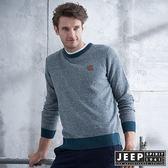 【JEEP】質感圓領刷毛長袖針織衫 (灰綠)