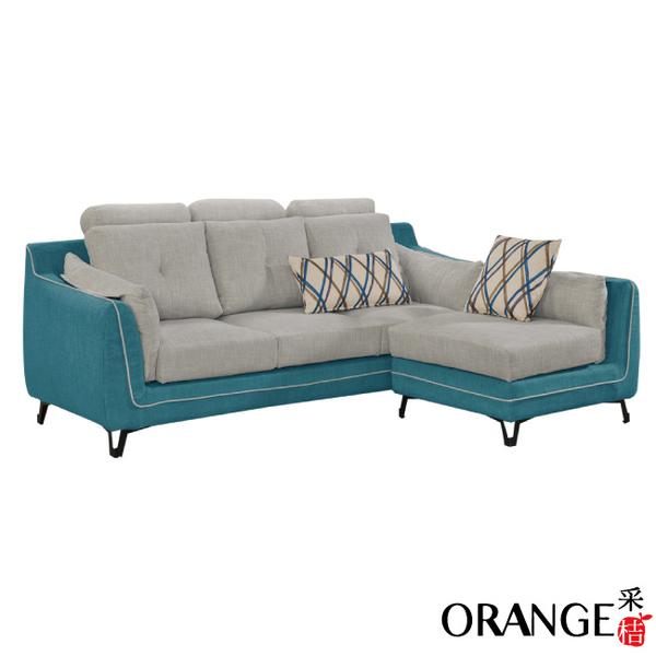 【采桔家居】奎爾 現代風亞麻布獨立筒L型沙發組合(三人座+椅凳)