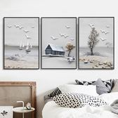 鑚石十字繡滿鑚客廳新款鑚石畫臥室5d鑚石繡三聯畫風景簡約現代