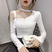 t恤女2020秋季性感小心機露肩短款 修身顯瘦百搭長袖上衣潮 中秋降價