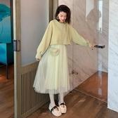 春秋季中長款氣質洋裝毛衣配網紗吊帶裙子兩件套裝仙女過膝長裙 伊衫風尚