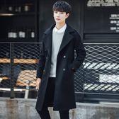 雙十二狂歡 男裝外套2018新款青少年修身呢子大衣韓版秋冬季學生風衣男中長款 艾尚旗艦店