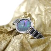 NATURALLY JOJO / JO96924-88F / 優雅簡約 珍珠母貝 藍寶石水晶玻璃 晶鑽 陶瓷不鏽鋼手錶 黑色 34mm
