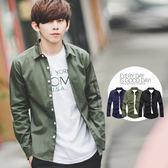 襯衫 手袖造型口袋挺版素面襯衫外套【N9708J】