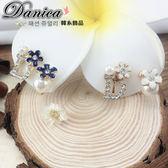 無耳洞耳環 現貨 韓國連線 韓國 氣質 D字 花朵 不對稱 珍珠 水鑽 夾式耳環 S92402 Danica 韓系飾品