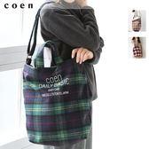 格紋包 LOGO托特包 單肩背包 現貨 免運費 日本品牌【coen】