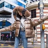 羽絨夾克-白鴨絨-亮面連帽大毛領短款女外套3色73zc2【時尚巴黎】