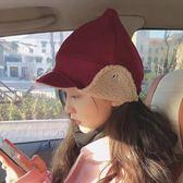現貨-韓版可愛尖尖帽頂羊毛呢雷鋒帽羊羔絨飛行帽子加絨滑雪帽女秋冬季保暖護耳飛機帽加厚加