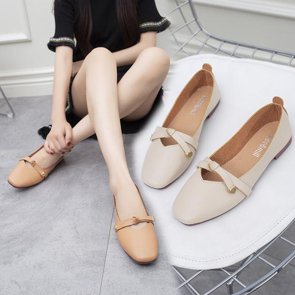 2019韓版夏季新款複古奶奶鞋 淺口百搭平底單鞋女鞋一腳蹬豆豆鞋女