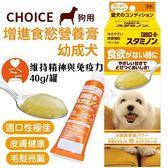 *KING WANG*日本CHOICE《增進食慾營養膏-幼成犬》40g/條 狗用健康食品