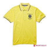 夏季男士短袖POLO衫 夢特嬌黃色徽章刺繡素色-冰涼紗