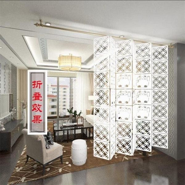 掛式隔斷屏風客廳餐廳玄關雕花櫃門簡約酒店辦公懸鏤空B141
