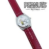 【SAS】日本限定 史努比 SNOOPY&查理布朗 皮革腕錶 / 手錶 ( 酒紅色 )
