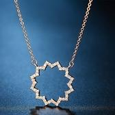 項鍊 玫瑰金純銀鑲鑽吊墜-簡約大氣生日情人節禮物女飾品73hj29【時尚巴黎】