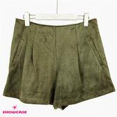 【SHOWCASE】冬季時尚保暖絨感寬襬造型短褲(綠)