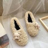 毛毛鞋 羊羔毛卷毛毛鞋立體水鉆加絨棉瓢鞋船鞋平底鞋豆豆女鞋【快速出貨】