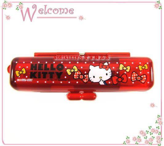 asdfkitty可愛家☆KITTY印章盒-果凍紅蝴蝶結版-有印泥歐-日本正版商品全新